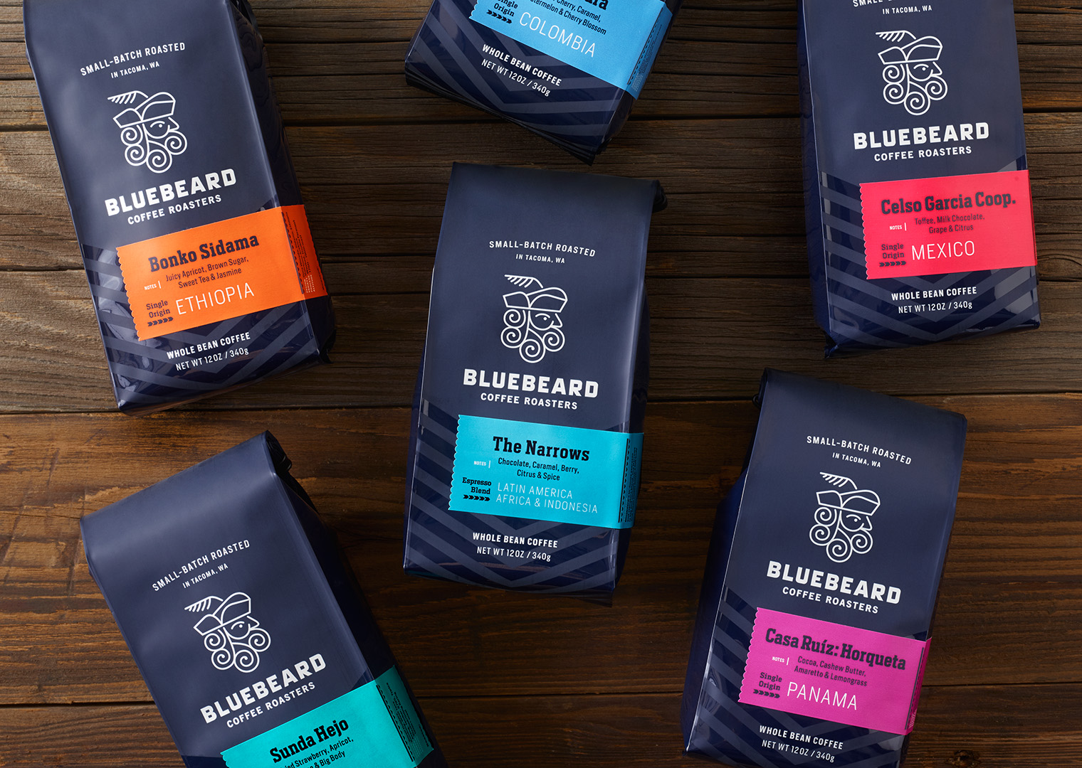 Bluebeard Coffee Roasters retail bags