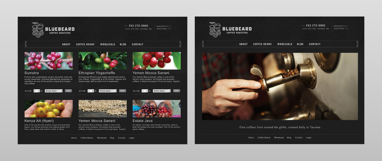 Bluebeard Coffee Roasters website