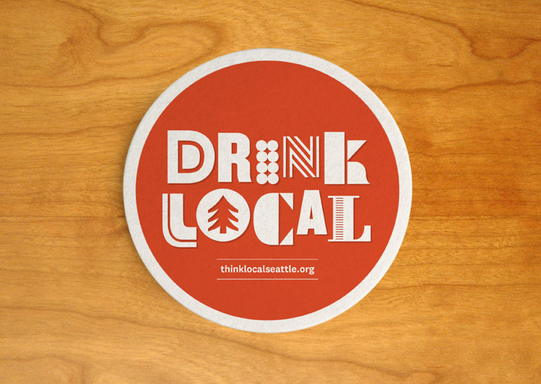 Think Local identity drink coaster