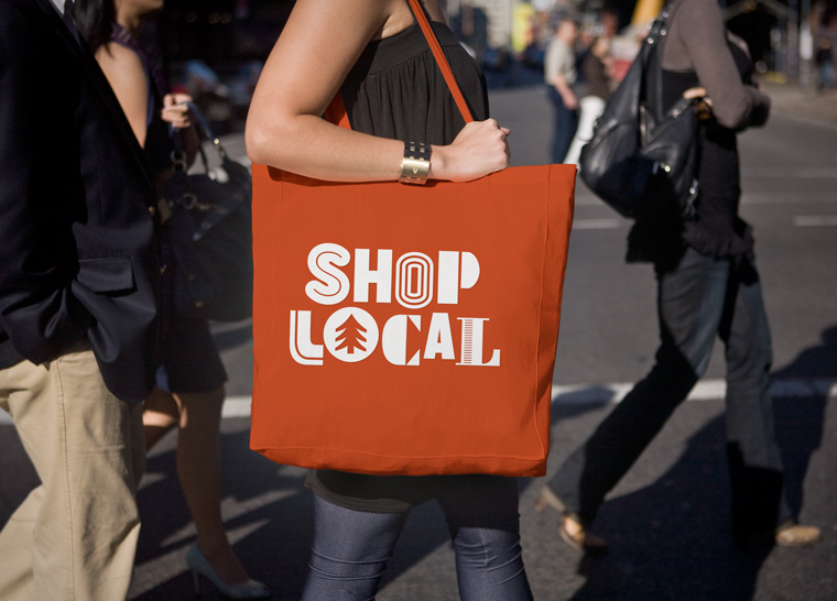 Think Local identity shopping bag